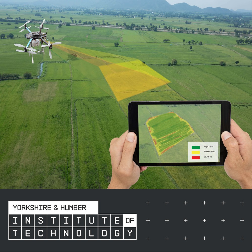 Drone and tablet being used for precision agriculture, above the Yorkshire and Humber Institute of Technology logo