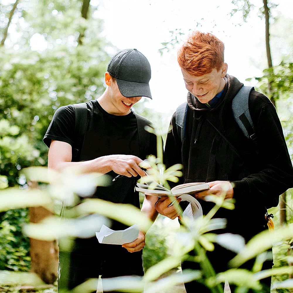 Environmental Studies students working in the woodland at Bishop Burton College