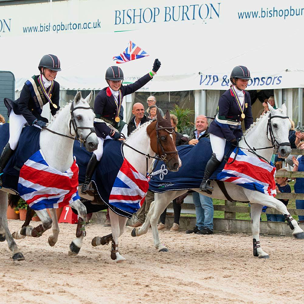 Team GB celebrate winning eventing gold at FEI European Championships for Ponies 2018 at Bishop Burton Equine Centre